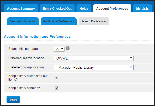 Search library selection